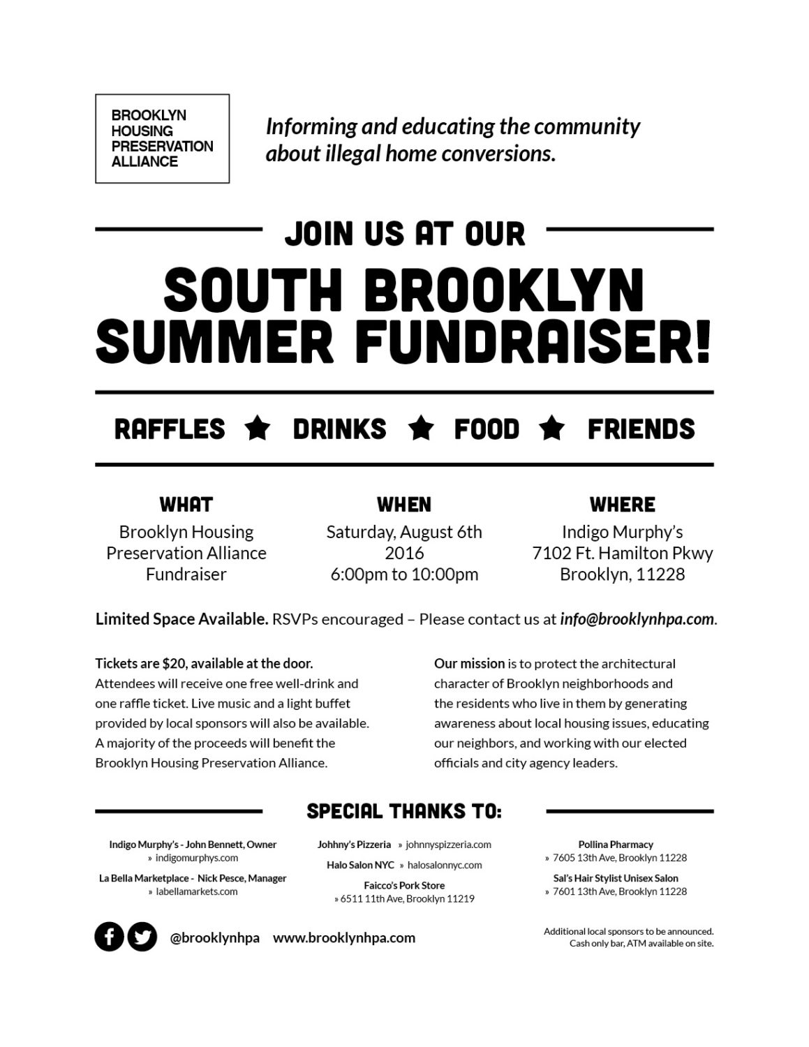 Brooklyn Housing Preservation Alliance August 2016 Fundraiser Flyer